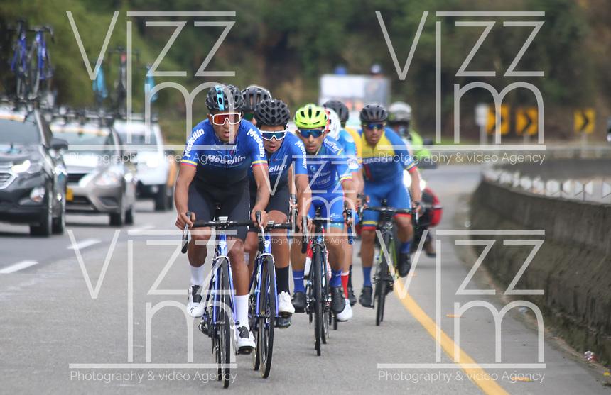 TUNJA - COLOMBIA, 15-02-2020: Grupo de escapados durante la quinta etapa del Tour Colombia 2.1 2020 con un recorrido de 180,5 km que se corrió entre Paipa, Boyacá, y Zipaquirá, Cundinamarca. / Scaped group during the fifth stage of 180,5 km as part of Tour Colombia 2.1 2020 that ran between Paipa, Boyaca, y Zipaquirá, Cundinamarca.  Photo: VizzorImage / Darlin Bejarano / Cont