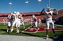 October 16, 2010: Texas celebrates the touchdown run by Texas Longhorns quarterback Garrett Gilbert #7 against the Nebraska Cornhuskers at Memorial Stadium in Lincoln, Nebraska. Texas defeated Nebraska 20 to 13.