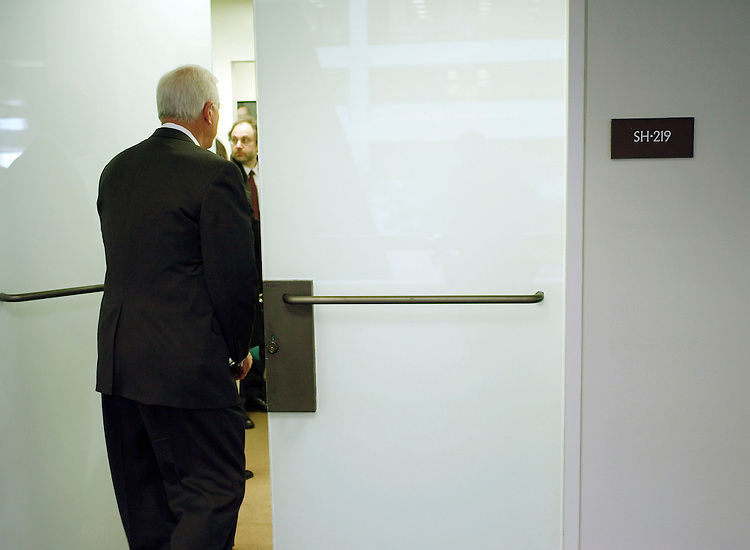 02/06/07--Sen. Saxby Chambliss, R-Ga., arrives for a closed Senate Select Intelligence oversight hearing on Iran. Congressional Quarterly Photo by Scott J. Ferrell