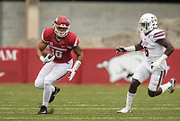 Hawgs Illustrated/BEN GOFF <br /> Jeremy Patton, Arkansas tight end, runs after a catch in the second quarter against Mississippi State Saturday, Nov. 18, 2017, at Reynolds Razorback Stadium in Fayetteville.