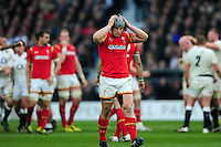 Jonathan Davies of Wales looks dejected during a break in play. RBS Six Nations match between England and Wales on March 12, 2016 at Twickenham Stadium in London, England. Photo by: Patrick Khachfe / Onside Images