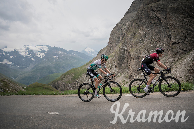 Emanuel Buchmann (DEU/BORA-hansgrohe) following defending Tour champion Geraint Thomas (GBR/Ineos) up the Col de l'Iseran (HC/2751m/13km@7.3%) <br /> > where the race was eventually stopped (at the top) because of landslides further up the road (after a severe hail storm in Tignes)<br /> <br /> Stage 19: Saint-Jean-de-Maurienne to Tignes(126km)<br /> 106th Tour de France 2019 (2.UWT)<br /> <br /> ©kramon