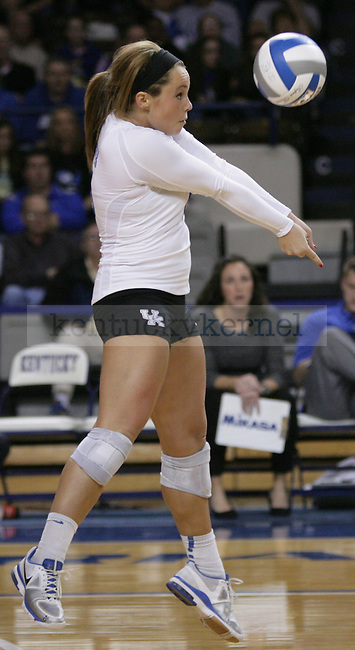 Sophomore Jackie Napper (15) bumps the ball during the University of Kentucky vs Ohio State University in the second round of the NCAA Volleyball Tournament in Lexington, Ky., on, 12/1/2012. Photo by Jared Glover | Staff