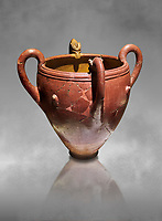 Bronze Age Anatolian four handled terra cotta vase with reliefs - 19th - 17th century BC - Kültepe Kanesh - Museum of Anatolian Civilisations, Ankara, Turkey.