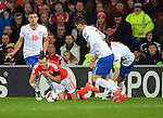 Gareth Bale of Wales is challenged by Branislav Ivanovic of Serbia during the FIFA World Cup Qualifying match at the Cardiff City Stadium, Cardiff. Picture date: November 12th, 2016. Pic Robin Parker/Sportimage