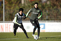 4th December 2019, Hannover, Germany; Genki Haraguchi with Sebastian Soto during Hannover Training  ; Soto, an American born player, has reportedly moved from Hannover to Norwich City of the English Premier league