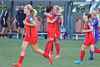 Portland, OR - Saturday May 27, 2017: Amandine Henry, Nadia Nadim celebrate a goal during a regular season National Women's Soccer League (NWSL) match between the Portland Thorns FC and the Boston Breakers at Providence Park.