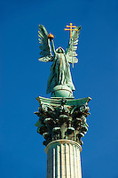 Archangel Gabrial hold the crown of St Stephan  (Istvan)  and two barred apostolic cross,in H?sök tere, ( Heroes Square )