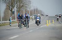 Ronde van Vlaanderen 2013..Zak(kari) Dempster (AUS) & Alex Dowsett (GBR) in the first break of the day