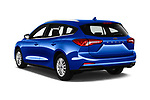 Car pictures of rear three quarter view of a 2018 Ford Focus Clipper Titanium Business 5 Door Wagon angular rear