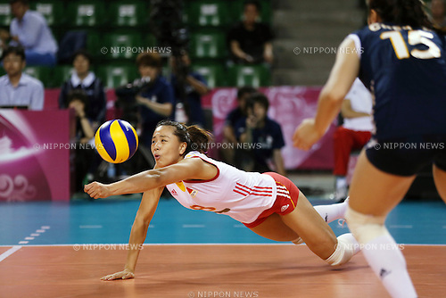 Zeng Chunlei (CHN),<br /> AUGUST 24, 2014 - Volleyball : FIVB World Grand Prix 2014 final round match between China 2-3 Russia at  Ariake Coliseum, Tokyo, Japan. (Photo by AFLO SPORT)