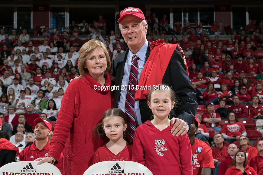 Wisconsin Badgers Head Coach Bo Ryan with his wife Kelly and their granddaughters after an NCAA Big Ten Conference college basketball game against the Michigan State Spartans Sunday, March 1, 2015, in Madison, Wis. The Badgers won 68-61. (Photo by David Stluka)
