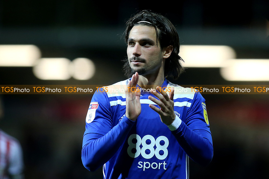 Jota of Birmingham City applauds the away fans at the end of the match during Brentford vs Birmingham City, Sky Bet EFL Championship Football at Griffin Park on 2nd October 2018