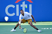 Washington, DC - August 4, 2019: Nick Kyrgios (AUS) makes a great save against Daniil Medvedev (RUS) NOT PICTURED during the Men's finals of the Citi Open at the Rock Creek Tennis Center, in Washington D.C. (Photo by Philip Peters/Media Images International)