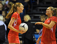 England's Helen Housby (left) and Chelsea Pitman warm up for the Quad Series netball match between the New Zealand Silver Ferns and England Roses at Trusts Stadium, Auckland, New Zealand on Wednesday, 30 August 2017. Photo: Dave Lintott / lintottphoto.co.nz