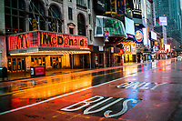 NEW YORK, NY - April 13:  McDonalds and other local stores remain shuttered due to COVID-19 at Times Square on April 13, 2020. in New York, United States. The global economy is facing the worst collapse since the WWII, while COVID-19  pandemic has now killed more than 22,000 people in the United States and at least 1,864,629 people died world wide. (Photo by Eduardo MunozAlvarez/VIEWpress)