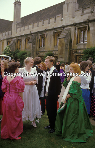 The Morning after. Commem Balls at Oxford. Magdalen College students in the breakfast queue afte the end of year May Ball. At Oxford these are called Commem Balls and take place in June but are universally know as the May Ball. The English Season published by Pavilion Books 1987