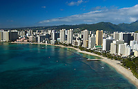 Aerial of Waikiki Beach, Waikiki, Oahu