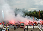 June 4th 2017, Estadi Montilivi,  Girona, Catalonia, Spain; Spanish Segunda División Football, Girona versus Zaragoza; Girona bus arrives as Girona fans with flags and light flares pre-game