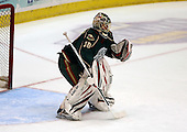 February 24th 2008:  Anton Khudobin (30) of the Houston Aeros in goal during warmups before a game vs. the Rochester Amerks at Blue Cross Arena at the War Memorial in Rochester, NY.  The Aeros defeated the Amerks 4-0.   Photo copyright Mike Janes Photography 2008