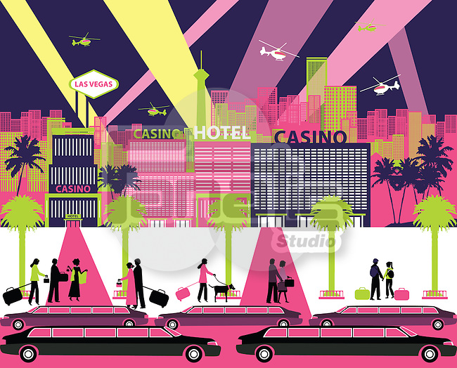 Casino hotels in a city, Las Vegas, Nevada, USA