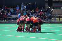 STANFORD, CA - November3, 2011: Team huddle during the Stanford vs. Appalachian State opener of  the  NorPac Championship at the Varsity Turf on the Stanford campus Thursday afternoon.<br /> <br /> Stanford defeated Appalachian State 7-0.