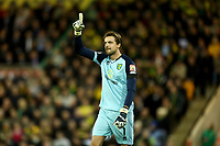 27th Ocotber 2019; Carrow Road, Norwich, Norfolk, England, English Premier League Football, Norwich versus Manchester United; Tim Krul of Norwich City celebrates saving Marcus Rashford of Manchester Utd penalty - Strictly Editorial Use Only. No use with unauthorized audio, video, data, fixture lists, club/league logos or 'live' services. Online in-match use limited to 120 images, no video emulation. No use in betting, games or single club/league/player publications