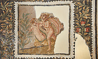 Picture of a Roman mosaics design depicting scenes from mythology, from the ancient Roman city of Thysdrus House in Jilani Guirat area. End of 2nd century AD. El Djem Archaeological Museum, El Djem, Tunisia.<br /> <br /> Detail from a mosaic which depicts Polyphene playing a lyre to charm Galate ; Dionysus drunk ; Alpheus attacking the nymph Arethusa