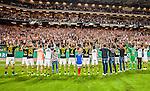 Solna 2015-08-10 Fotboll Allsvenskan AIK - Djurg&aring;rdens IF :  <br /> AIK:s spelare jublar framf&ouml;r AIK:s supportrar efter matchen mellan AIK och Djurg&aring;rdens IF <br /> (Foto: Kenta J&ouml;nsson) Nyckelord:  AIK Gnaget Friends Arena Allsvenskan Djurg&aring;rden DIF jubel gl&auml;dje lycka glad happy supporter fans publik supporters inomhus interi&ouml;r interior