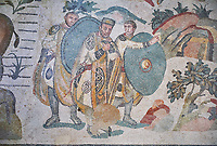 Ambulatory of the Great Hunt Roman mosaic, Emperor Maximianus watches the animal hunt, room no 28, at the Villa Romana del Casale, first quarter of the 4th century AD. Sicily, Italy. A UNESCO World Heritage Site.<br /> <br /> The Great Hunt ambulatory is around 60 meters long (200 Roman feet) and connects the master&rsquo;s northern apartments with the triclinium in the south. The door in the centre of the the Great Hunt ambulatory leads to audience hall. <br /> <br /> The Great Hunt Roman mosaic depicts African animals being hunted and put onto ships to be taken to the Colosseum.