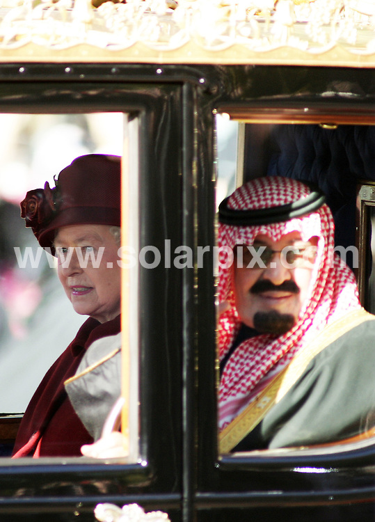 **ALL ROUND PICTURES FROM SOLARPIX.COM**.**NO UK NEWSPAPER PUBLICATION **UK MAGAZINE PUBLICATION ONLY** AND NO PUBLICATION IN FRANCE, SCANDINAVIA, AUSTRALIA AND GERMANY** .The state visit of King Abdullah of Saudi Arabia officially began today with a trip down the Mall to Buckingham Palace accompanied by HRH Queen Elizabeth 11..JOB REF:5229-SFE       DATE:30_10_07 .**MUST CREDIT SOLARPIX.COM OR DOUBLE FEE WILL BE CHARGED* *UNDER NO CIRCUMSTANCES IS THIS IMAGE TO BE REPRODUCED FOR ANY ONLINE EDITION WITHOUT PRIOR PERMISSION*