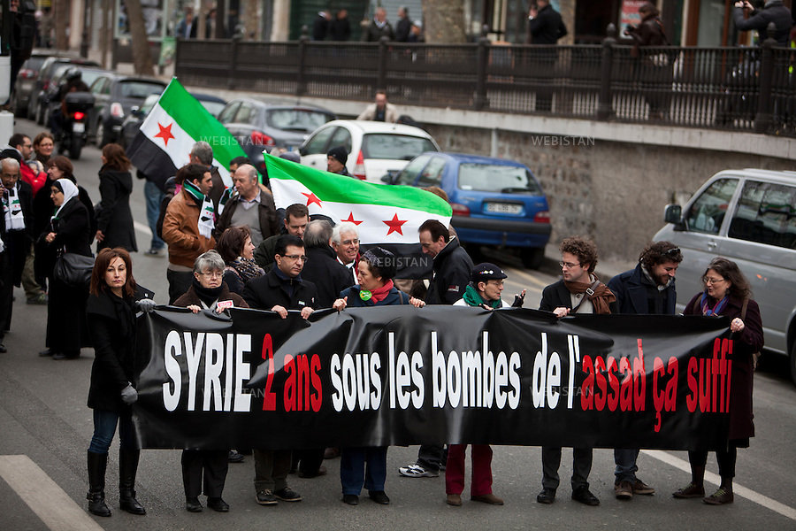 FRANCE.PARIS.16/03/2013: A second day of protests have been held in Paris on the occasion of the second year anniversary of Syria's conflict.......