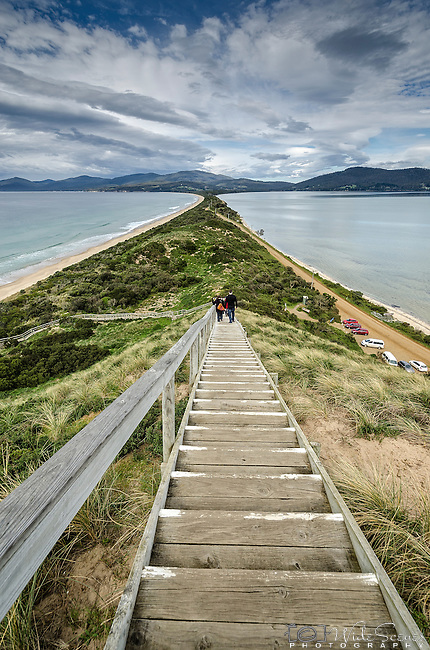 "The stairway to the Truganini Lookout which overlooks the narrow isthmus known as ""The Neck"" which connects North Bruny Island to South Bruny Island in Tasmania, Australia."