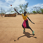 A girl plays ball at a school in the Kaya Refugee Camp in Maban County, South Sudan. The county is host to more than 130,000 refugees from the Blue Nile region of Sudan, and Misean Cara has supported Jesuit Refugee Service as it provides educational and psycho-social services to both refugees and the host community.