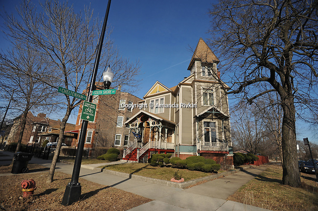 A home at Cheltenham Place and South Shore Drive is seen in the South Shore neighborhood of Chicago, Illinois on January 2, 2008.  Michelle Obama, wife of U.S. President Elect Barack Obama, was raised in a modest bungalow in the South Shore neighborhood on the South Side of Chicago.