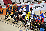(L-R) Riyu Ota,   Vetu Benoit (JPN), <br /> AUGUST 28, 2018 - Cycling - Track : Women's Keirin Repechage at Jakarta International Velodrome during the 2018 Jakarta Palembang Asian Games in Jakarta, Indonesia. <br /> (Photo by MATSUO.K/AFLO SPORT)