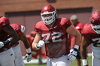 NWA Democrat-Gazette/ANDY SHUPE<br /> Arkansas offensive lineman Frank Ragnow runs Tuesday, Aug. 11, 2015, during practice at the university's practice field in Fayetteville.