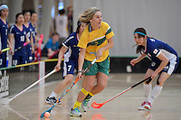 Australia&rsquo;s Ashlegh Bourke in action during the World Floorball Championships 2017 Qualification for Asia Oceania Region Final - Australia v Japan at ASB Sports Centre , Wellington, New Zealand on Sunday 5 February 2017.<br /> Photo by Masanori Udagawa<br /> www.photowellington.photoshelter.com.