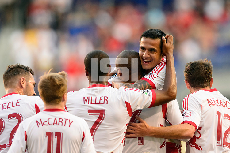 Tim Cahill (17) of the New York Red Bulls celebrates scoring with teammates during a Major League Soccer (MLS) match against Real Salt Lake at Red Bull Arena in Harrison, NJ, on July 26, 2013.