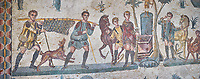 Close up detail picture of the Roman mosaics of the small hunt depicting hunters with a dead boar and hunters making an offering at an altar, room no 24 at the Villa Romana del Casale, first quarter of the 4th century AD. Sicily, Italy. A UNESCO World Heritage Site.<br /> <br /> The Small Hunt room was used as a living room for guests of the Villa Romana del Casale. The Small hunt mosaic design has 4 registers running across the mosaic depicting hunting scenes. In the first register two servants are handling hunting dogs. In the second register figures are depicted burning incense at an altar to Diana, the goddess of hunting, before the hunt starts. The offering is being made by Constantius Clorus , the Caesar of Emperor Maximianus who owned the Villa Romana del Casale. Behind him is his son the future Emperor Constantine. To the right of the altar is a figure holding the reins of a horse dressed in a clavi decorated with ivy leaves indicating that he belongs to the family of Maximianus.