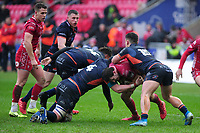 Dan Jones of Scarlets in action during the Guinness Pro14 Round 11 match between the Scarlets and Edinburgh Rugby at the Parc Y Scarlets in Llanelli, Wales, UK. Saturday 15 February 2020