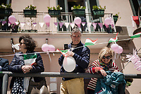 fans at the race start of the pinkest of all sports events in Vasto<br /> <br /> Stage 7: Vasto to L'Aquila (180km)<br /> 102nd Giro d'Italia 2019<br /> <br /> ©kramon