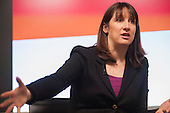 Shadow Work & Pensions Secretary Rachel Reeves MP speaks at a Labour Party general election press conference at the London office of Bloombergs.