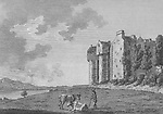 Engraving of Scottish landscapes and buildings from late eighteenth century,Elcho Castle, Perth, Scotland, 1789 , drawn by S Hooper