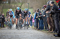 Ian Stannard leading the chase on the last passage of the Haaghoek<br /> <br /> 72nd Omloop Het Nieuwsblad 2017