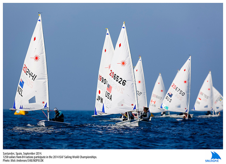 20140912, Santander, Spain: 2014 ISAF SAILING WORLD CHAMPIONSHIPS - More than 1,250 sailors in over 900 boats from 84 nations will compete at the Santander 2014 ISAF Sailing World Championships from 8-21 September 2014. The best sailing talent will be on show and as well as world titles being awarded across ten events 50% of Rio 2016 Olympic Sailing Competition places will be won based on results in Santander. Sailor(s): Laser Radial - USA206526 - Claire DENNIS. Photo: Mick Anderson/SAILINGPIX.DK. Keywords: Sailing, water, sport, ocean, boats, olympic, dinghy, dinghies, crew, team, sail. Filename: SailingWorlds2014_MICK-3066.jpg.