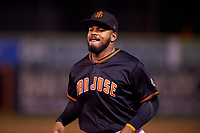 San Jose Giants center fielder Heliot Ramos (13) during a California League game against the Visalia Rawhide on April 12, 2019 at San Jose Municipal Stadium in San Jose, California. Visalia defeated San Jose 6-2. (Zachary Lucy/Four Seam Images)