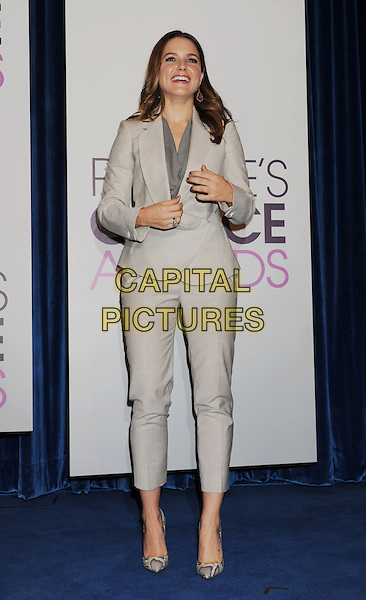 Sophia Bush.The People's Choice Awards 2013 Nomination Announcements at The Paley Center for Media in Beverly Hills, California, USA. .November 15th, 2012.full length grey gray trousers jacket suit beige snakeskin shoes blazer smiling hands arms .CAP/ROT/TM.©Tony Michaels/Roth Stock/Capital Pictures