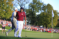 Henrik Stenson (SWE) (Team Europe) and Patrick Reid (Team USA) on the 16th green during Saturday afternoon Fourball at the Ryder Cup, Hazeltine National Golf Club, Chaska, Minnesota, USA.  02/10/2016<br /> Picture: Golffile | Fran Caffrey<br /> <br /> <br /> All photo usage must carry mandatory copyright credit (&copy; Golffile | Fran Caffrey)