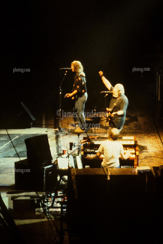 Bob Weir, Jerry Garcia and Brent Midland. The Grateful Dead in Concert at the Brendan Bryne Arena, East Rutherford NJ, on April 1st 1988. Original Slide is Horizontal. This is a crop.